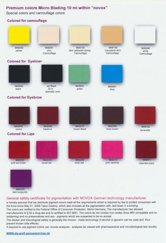 Farbtabelle Premium Micro Blading