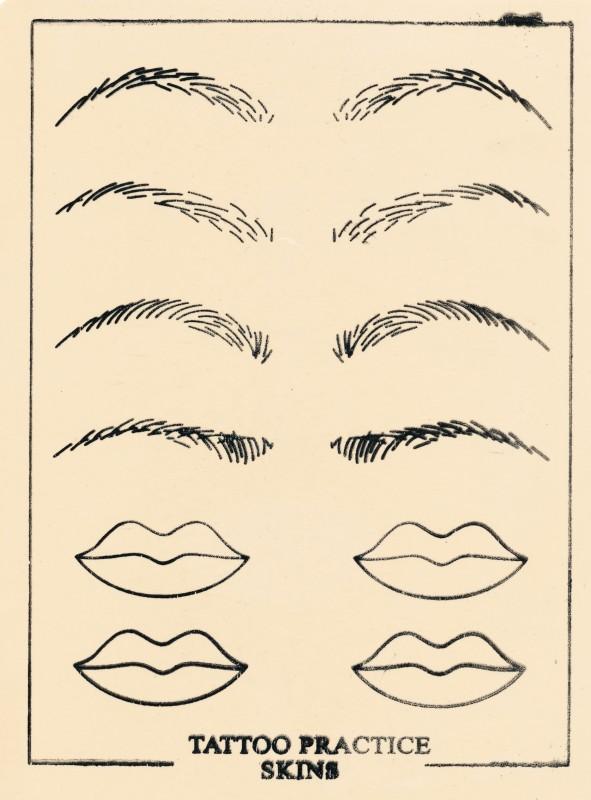 Übungsmatrize Lippe, Augenbrauen.Lidstrich