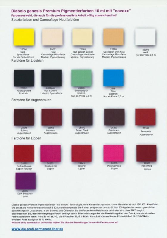 Farbtabelle Premium Pigmentierfarben